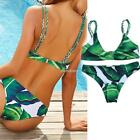 Women Low Rise Bottom Two Piece Swimsuits Leaf Print Bikini Set Bathing N98B