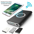 10000mAh Qi Wireless Charger Power Bank Backup Battery for iPhone Samsung Phone