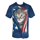 THE MOUNTAIN Mens Patriotic Kitten USA American Flag T-Shirt S-5XL NEW