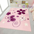 Kids Rug Girls Rug Pink Children Bedroom Carpet Butterfly Princess Soft Play Mat