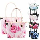 New Ladies Floral Butterfly Print Faux Leather 2 in 1 Shoulder Tote Bags