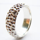 Tailor Made 7mm Matte Honeycomb Sterling Silver Dome Cluster Ring Size H - Z4