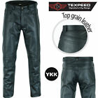 New Quality Mens Black Leather Motorcycle / Motorbike Biker Jeans / Trousers