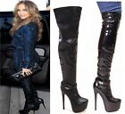 New Womens Ladies Thigh High Over The Knee Stiletto Heel Buckle Stretch Boots