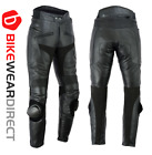 Texpeed Mens CE Armoured Black Leather Motorcycle / Motorbike Trousers / Jeans