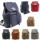 New Faux Leather Drawstring Quilted Detail Chain Straps Ladies Fashion Backpack
