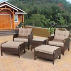 5pcs Outdoor Patio Rattan Sofa Ottoman Furniture Set Table Garden Backyard Deck