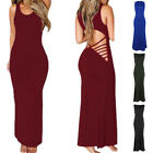 US Lady Sexy Hollow Back Sleeveless Maxi Dress Cocktail Evening Party Long Dress