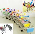 Mini Supermarket Shopping Cart Toy Colorful Cute Pet Bird Parrot Parakeet Toys