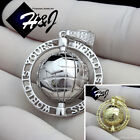 "MEN 925 STERLING SILVER ""WORLD IS YOURS"" GOLD/SILVER 3D CHARM PENDANT*SP138 image"
