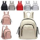 New Women's Small Faux Leather Zipped Pockets Casual Backpack Handbag