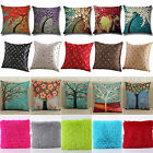 Vintage Geometric Flower Linen Cotton Pillow Case Cushion Cover Home Sofa Decors image