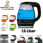 electric kettle cordless - Cordless Electric Glass Kettle Hot Water Boiler Tea Pot 1.5 Liter LED Light New