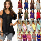 Plus Size Women Summer Cold Shoulder Tops Blouse Tee Short Sleeve Loose T-Shirts