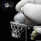 MEN 925 STERLING SILVER LAB DIAMOND ICED GOLD/SILVER BASKETBALL PENDANT*SP198