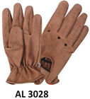 Mens Motorcycle HeavyDuty Buffalo Leather Brown Full Finger Driving Gloves