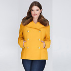 Lane-Bryant-Double-Breasted-Pea-Coat-Faux-Fur-Collar-Mustard Plus Size 18/20