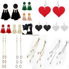 Women Trendy Round Heart Crystal Tassel Hook Drop Dangle Earrings N98B