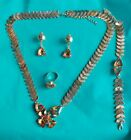 4pcs Girl's Beaded gold Necklace Bracelet Rings Earrings Jewelry Set Party Gift