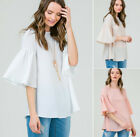 S M L Womens Flowy Ruffle 3/4 Sleeve Shirt Blouse Loose Top Ivory Cream Pink USA