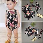 UK Kids Baby Girls Summer Matching Floral Outfits 2Pcs Set Tops Pants Headband