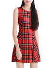 Women Round Neck Sleeveless Plaids Mini A Line Dress