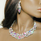 Bib Necklace Earring Set With Filigree And Large Marquise Rhinestones - J610