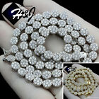 """18""""-30""""MEN 925 STERLING SILVER 5MM SILVER/GOLD ICED CLUSTER CHAIN NECKLACE*SN15"""