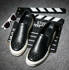 Punk Mens Leather Round Toe Hidden Heels Creeper Business Loafters Causal Shoes