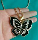 Fashion Crystal Rhinestone Chunky gold Plated Double butterfly Pendant Necklace