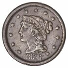 160 Years OLD - 1856 - US Type Coin Braided Hair Large Cent - Nice Shape  979