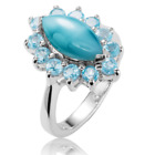 Ladies Shipton and Co Silver Turquoise and Sky Blue Topaz Ring TSV023TQBT