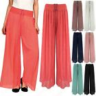 NEW LADIES PLEATED CHIFFON LINED PALAZZO TROUSERS WOMENS FLARED LOOK LONG PANTS