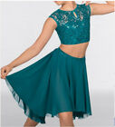 In Stock Lace Sequin Dipped Hem Teal Lyrical Two Piece Dance Costume All Sizes