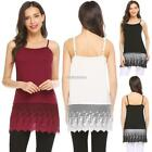 Women Casual Solid O-Neck Sleeveless Lace Patchwork Hem Tank Tops N98B