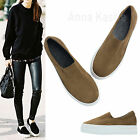 AnnaKastle Womens Vegan Suede Stretch Slip-On Platform Sneakers Camel