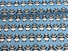 NEW! PolyCotton Fabric Happy PANDA BLUE & White METRE Reduced Prices