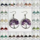 Natural Amethyst Peridot Chip Beads Chakra Tree of Life Silver Hook Earrings