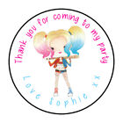 Personalised Birthday Stickers Labels Thank You Party Bag Seals Harley Quinn