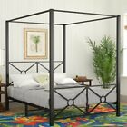 Twin Full Queen Black Metal Canopy Bed Frame Criss Cross ...