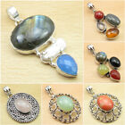 Choose Your Choice ! Real LABRADORITE & Other Gems Pendant ! 925 Silver Plated