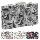 New Hard Compact Embroidered PU Leather Ladies Evening Clutch Bag
