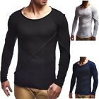 Summer New Casual Fashion Men's Round Neck Solid Color Slim Long-sleeved T-shirt
