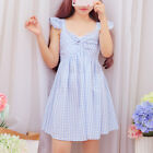 Japanese Preppy Style Harajuku High Waist Sweet Elegant Plaid Women V-neck Dress