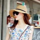 Fashion Women Lady Wide Brim Beach Floppy Panama Cap Straw Hat Topee Sunbonnet