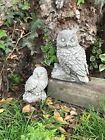 Mother and baby owl stone garden ornament proud mum mummy log statue barn tawny