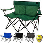 Double Camping Chair 2 Seater Folding Portable Fishing Picnic Steel Festival NEW