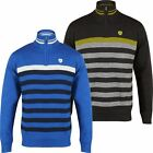 2017 Island Green Windproof 1/4 Zip Stripe Sweater Mens Golf Pullover-LINED