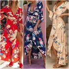 UK Fashion Casual Womens Flower Printing Ladies Maxi Wrap Holiday Summer Dress