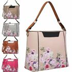 New Faux Leather Floral Print Two Toned Ladies Tote Shoulder Bag